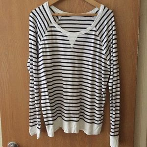 Gap Super Soft Navy and White Striped Long Sleeve